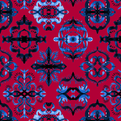 Persian Calligraphy Tile Pattern in Deep Red and Blue fabric by micklyn on Spoonflower - custom fabric