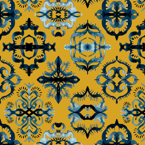 Moroccan Calligraphy Brushstroke Pattern in Indigo Navy Blue and Mustard fabric by micklyn on Spoonflower - custom fabric