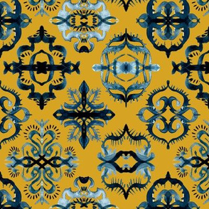 Moroccan Calligraphy Brushstroke Pattern in Indigo Navy Blue and Mustard