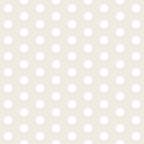 White Polka Dots on Cream - Large