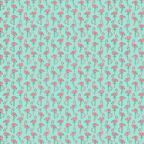 Flamingo Pink on Mint Tiny fabric by caja_design on Spoonflower - custom fabric