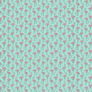 Flamingo Pink on Mint Tiny