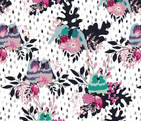 Love Birds in the Rain fabric by vieiragirl on Spoonflower - custom fabric