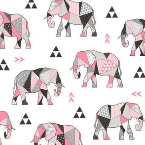 Elephants Geometric with Triangles Pink