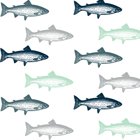 Multi Rustic Trout Lake FIsh fabric by hudsondesigncompany on Spoonflower - custom fabric