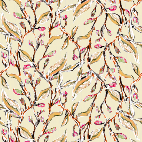 Delicate Old Gold color Vines with Hot Pink Catkins fabric by eclectic_house on Spoonflower - custom fabric