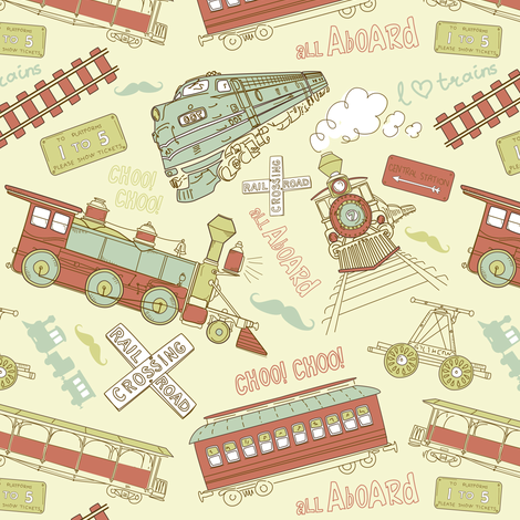 Red trains fabric by forthelove on Spoonflower - custom fabric
