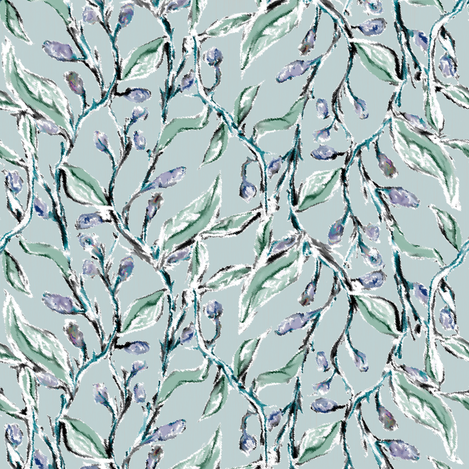 Delicate Muted Vines with Bluegray Catkins fabric by eclectic_house on Spoonflower - custom fabric