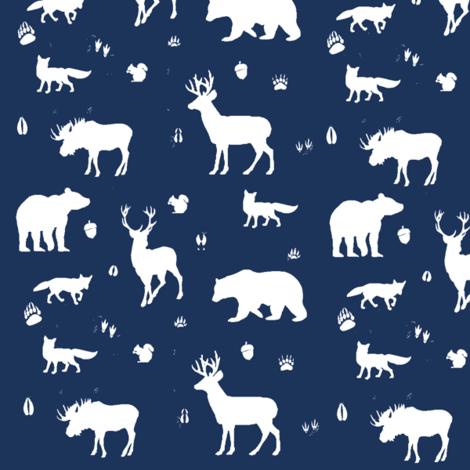 woodland animals // midnight fabric by buckwoodsdesignco on Spoonflower - custom fabric