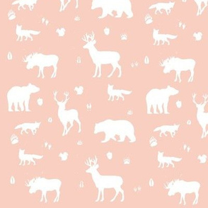 woodland animals // peach