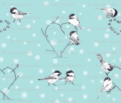 Chickadee Love in the Snow