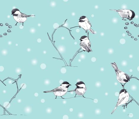 Chickadee Love in the Snow fabric by juliesfabrics on Spoonflower - custom fabric