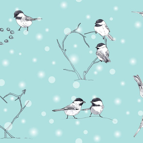 Chickadee Love in the Snow