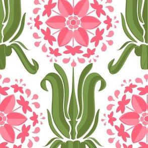 Lily Wallpaper -  Pink / Green / White