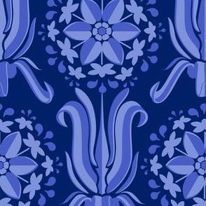 Lily Wallpaper - Blue Monochrome