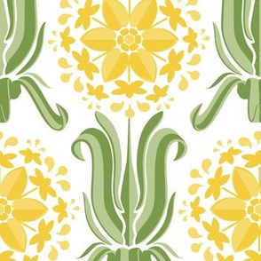 Lily Wallpaper- Yellow and Green on White
