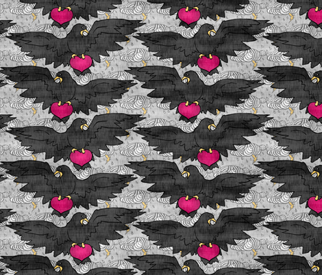Blackbird Love fabric by pond_ripple on Spoonflower - custom fabric