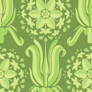 Lily Wallpaper - Green on Green