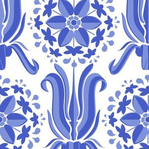 Lily Wallpaper - Blue on White