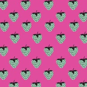 strawberries pink and teal
