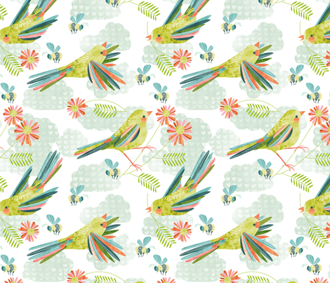 breezy birds and bees fabric by cjldesigns on Spoonflower - custom fabric