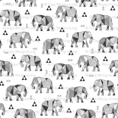 Elephants Geometric with Triangles Black&White Grey