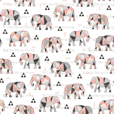 Elephants Geometric with Triangles Peach