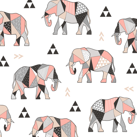Elephants Geometric with Triangles Peach fabric by caja_design on Spoonflower - custom fabric