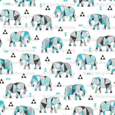 Elephants Geometric with Triangles Aqua Blue