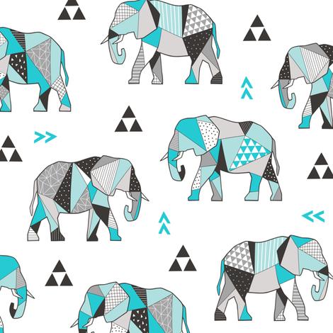 Elephants Geometric with Triangles Aqua Blue fabric by caja_design on Spoonflower - custom fabric