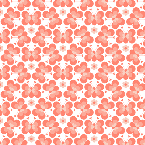 hex drop heart butterfly 3 : coral fabric by sef on Spoonflower - custom fabric