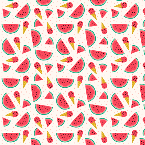 Watermelon summer ice cream party (small) fabric by heleen_vd_thillart on Spoonflower - custom fabric