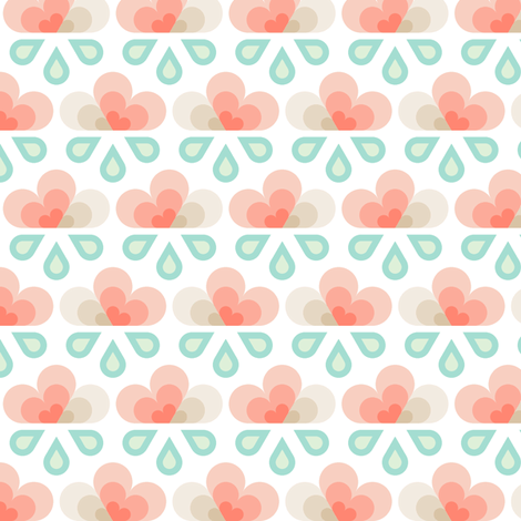 hex drop heart rain cloud fabric by sef on Spoonflower - custom fabric