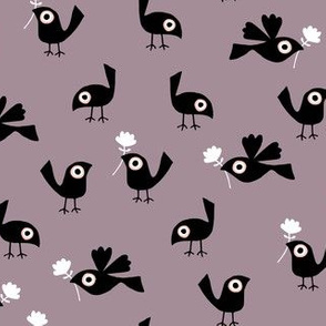 Spring birds on purple