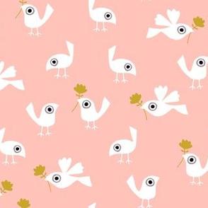 Spring birds on peach