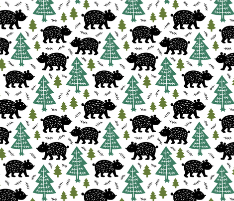 Black bear in the forest fabric by heleen_vd_thillart on Spoonflower - custom fabric