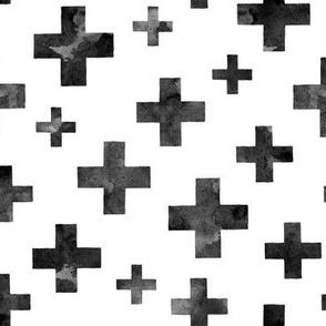 Crosses in black ink