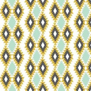 Southwestern aztec - mint, mustard, charcoal