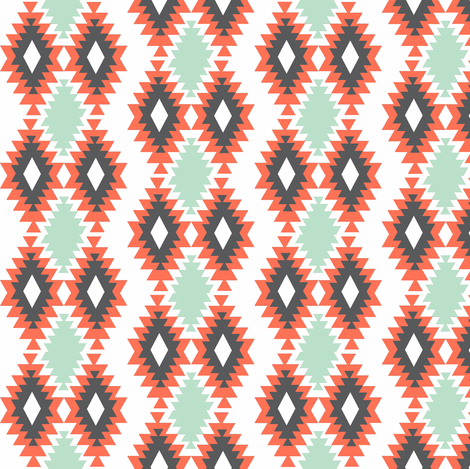 Southwestern Aztec - Mint, Coral, Charcoal fabric by modfox on Spoonflower - custom fabric