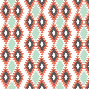 Southwestern Aztec - Mint, Coral, Charcoal
