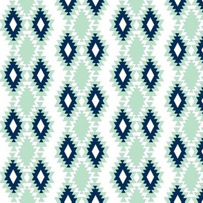 Southwestern Aztec - Navy and Mint