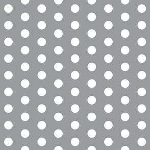 White Polka Dots on Grey - Large
