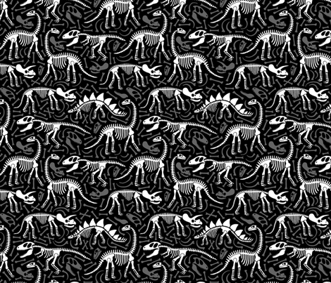Dinosaurs and bones (black) fabric by heleen_vd_thillart on Spoonflower - custom fabric