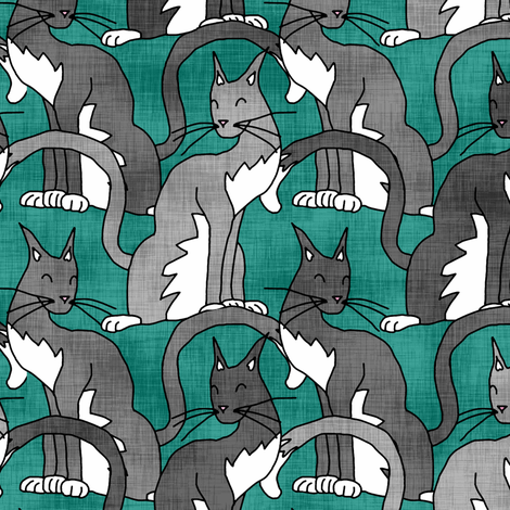Gray Cats fabric by pond_ripple on Spoonflower - custom fabric