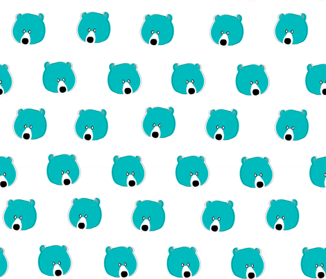 Happy Days Little Bear Face - Blue fabric by michellemanolov on Spoonflower - custom fabric