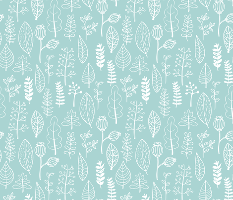 Mint garden leaf and flowers scandinavian style illustration summer spring print gender neutral fabric by littlesmilemakers on Spoonflower - custom fabric
