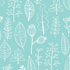 Mint garden leaf and flowers scandinavian style illustration summer spring print gender neutral