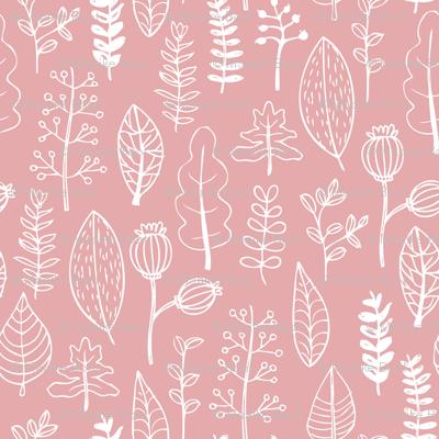 Soft pastel pink garden leaf and flowers scandinavian style illustration print summer spring pink girls