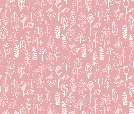 Soft pastel pink garden leaf and flowers scandinavian style illustration print summer spring pink girls fabric by littlesmilemakers on Spoonflower - custom fabric