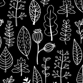 Black and white garden leaf and flowers scandinavian style illustration summer spring print gender neutral
